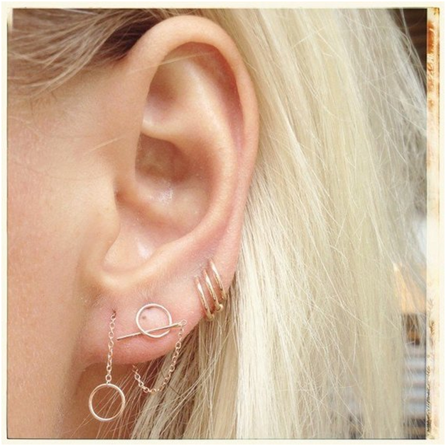 Assorted ear piercings