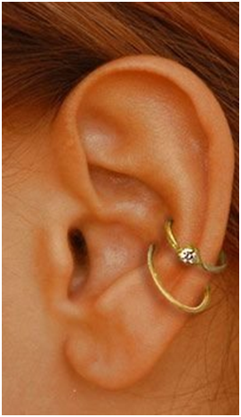 Double hoop ear piercing