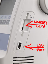 Brother PE770 memory card usb slots