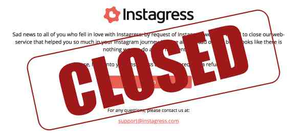 Instagress shut down